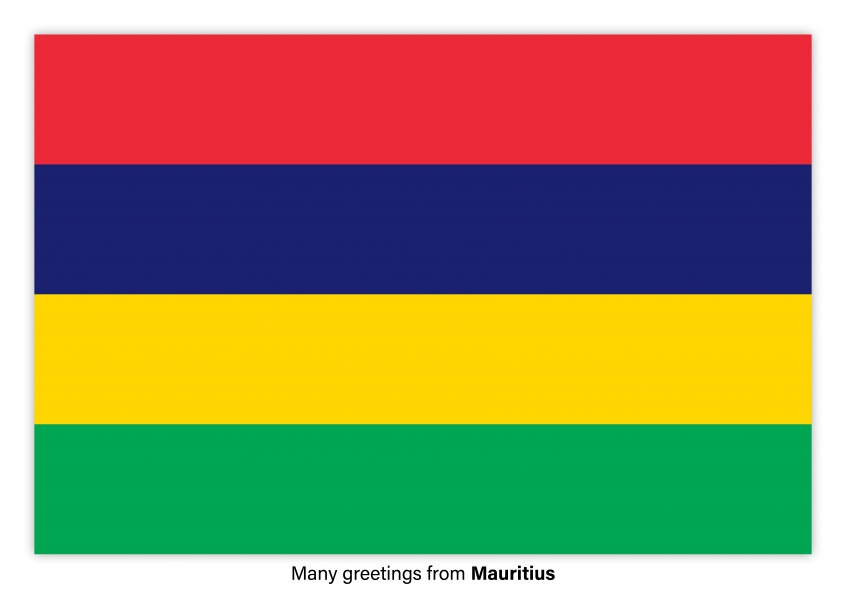 Postcard with flag of Mauritius