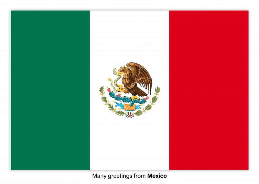 Postcard with flag of Mexico
