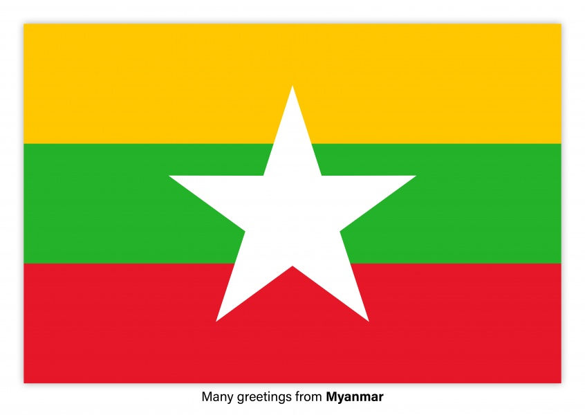 Postcard with flag of Myanmar