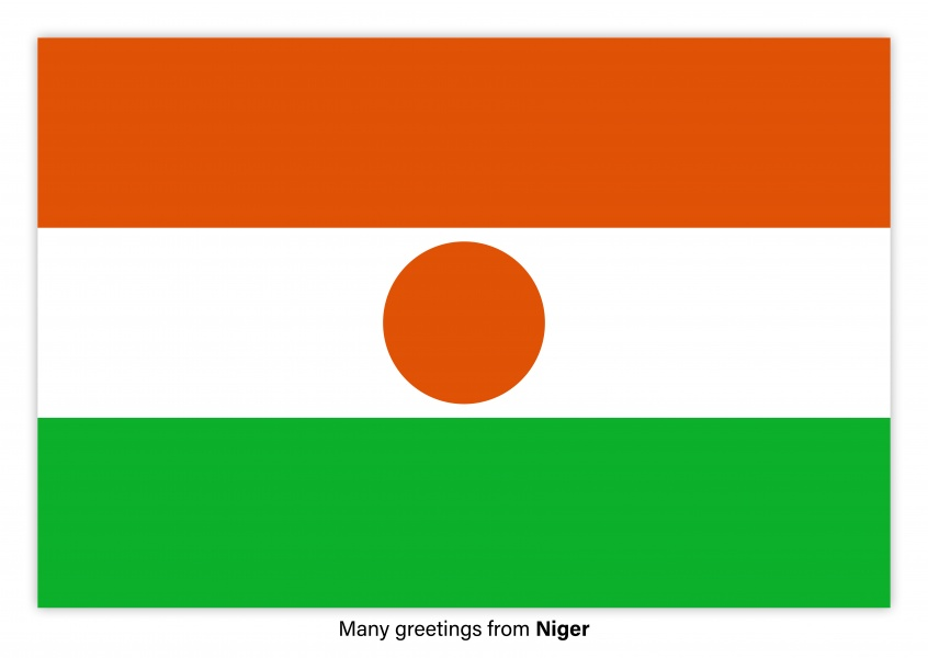 Postcard with flag Niger