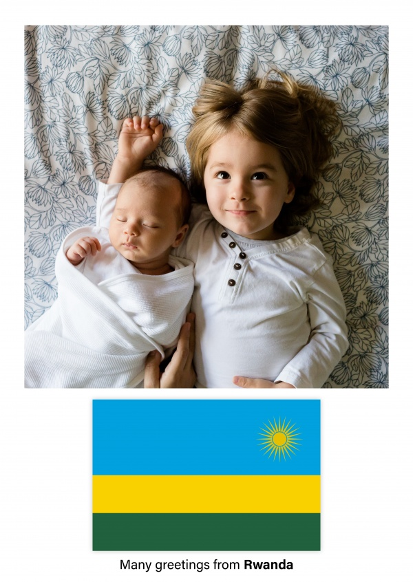 Postcard with flag of Rwanda