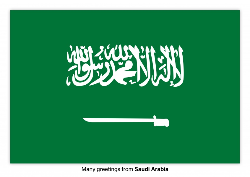 Postcard with flag of Saudi Arabia