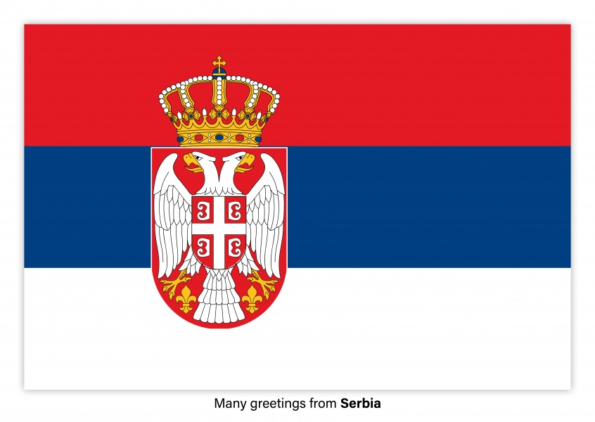 Postcard with flag of Serbia