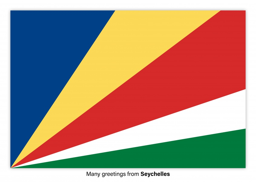 Postcard with flag of Seychelles