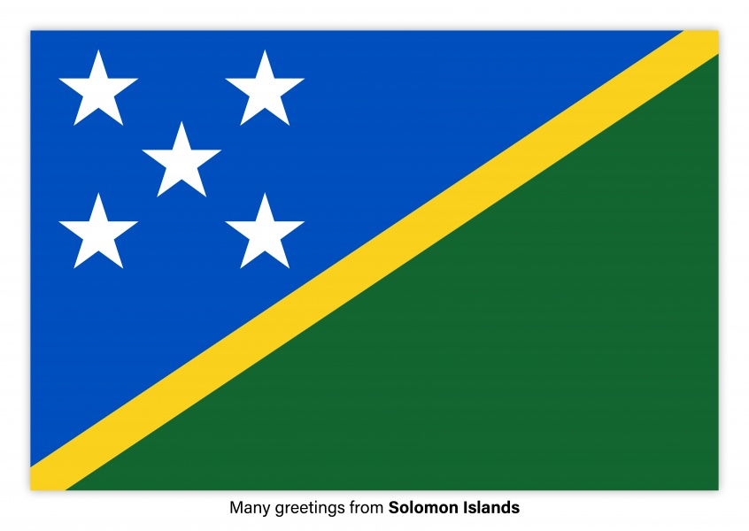 Postcard with flag of Solomon Islands