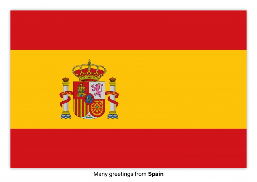 Many greetings from spain vacation greetings send real postcards postcard with flag of spain m4hsunfo