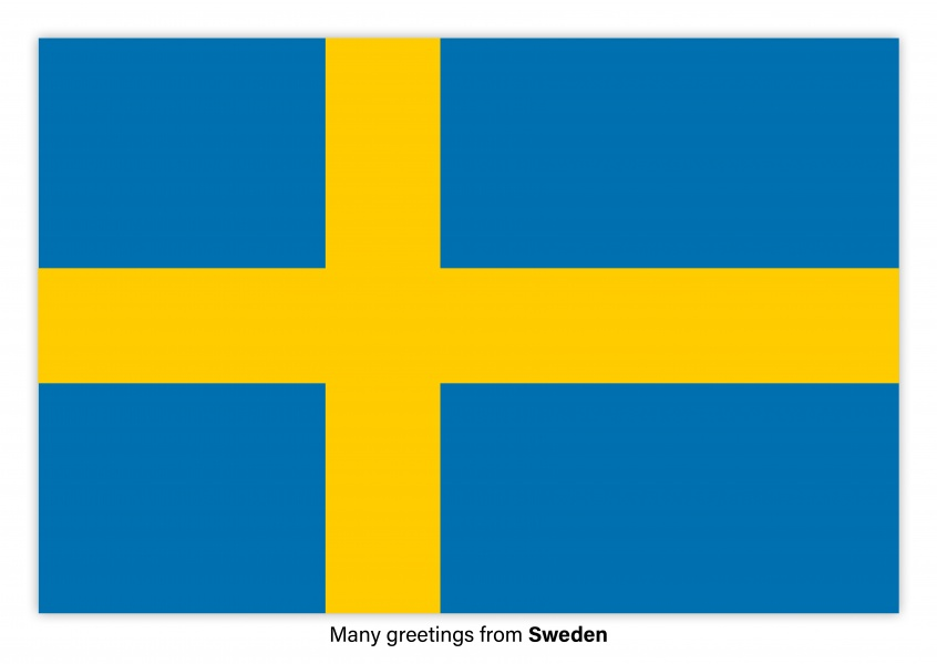 Postcard with flag of Sweden