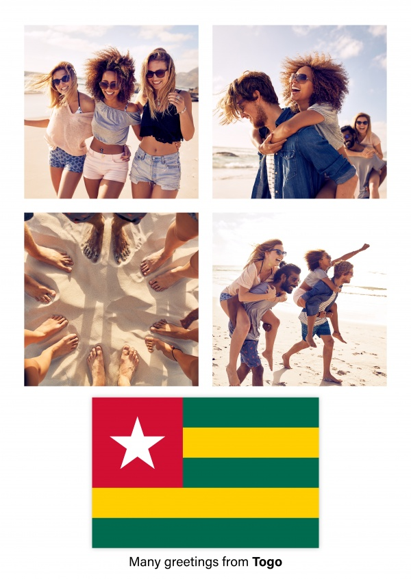 Postcard with flag of Togo