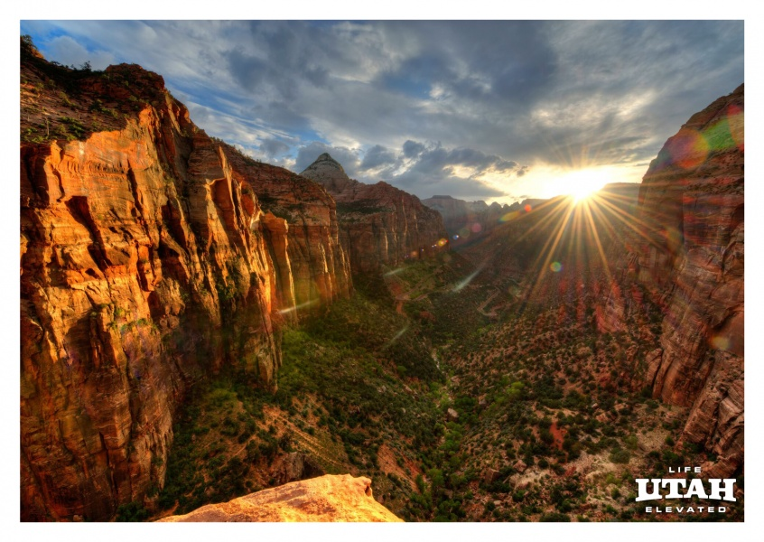 Zion observation point at sunset