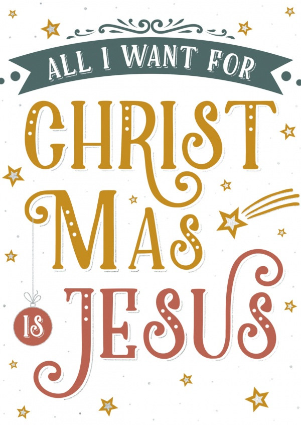 postcard All I want for Christmas is Jesus