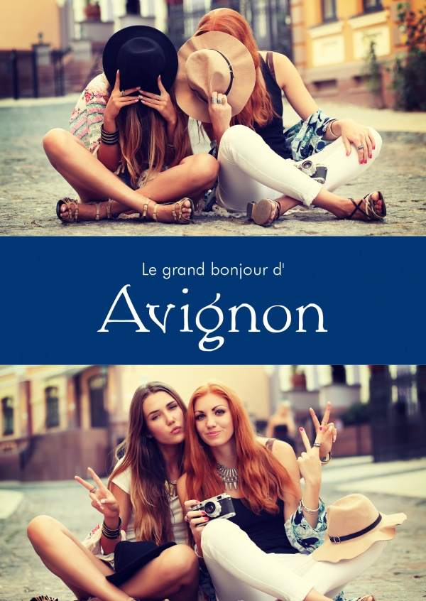 Avignon greetings in French language blue white