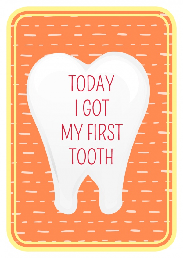 Today I got my first tooth- Lettering in a tooth on orange backround