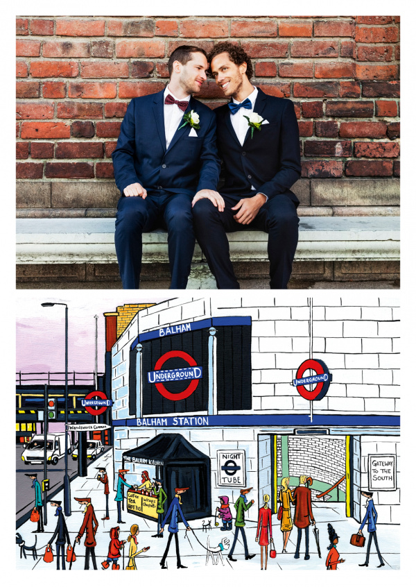 Illustration du Sud de Londres, l'Artiste Dan Balham Station de nuit tube