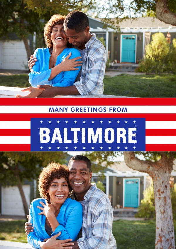 Baltimore greetings in US Flag design
