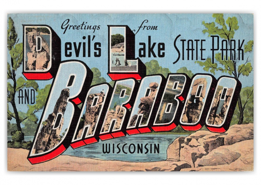 Baraboo Wisconsin Devils Lake State Park Greetings Large Letter