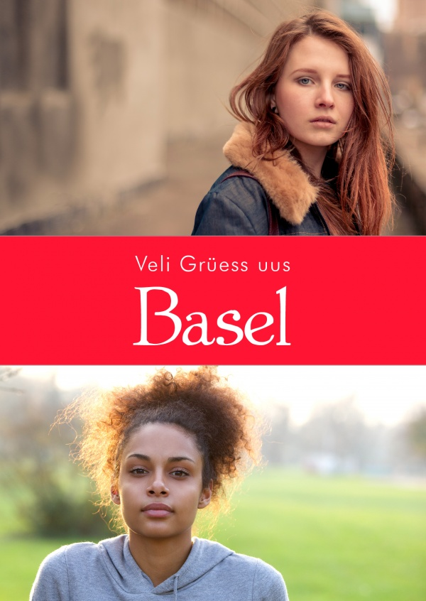 Basilea greetings in swiss-german dialect red white