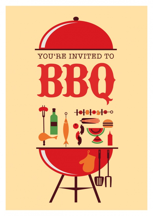 invitation to bbq party illustration