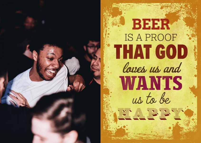 Vintage quote card: Beer is a proof that god loves us and wants us to be happy