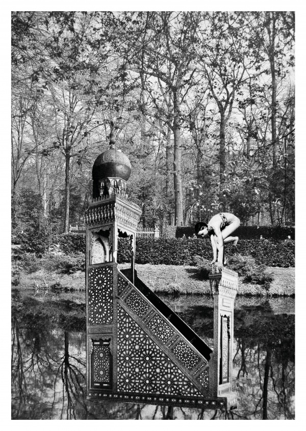 surrealistische black n white collage Belrost enchanted garden