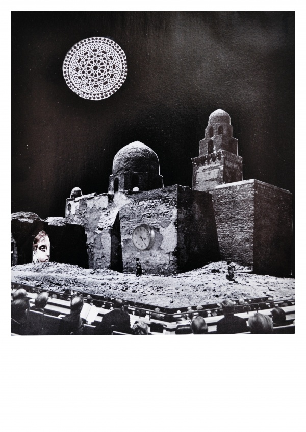 Surrealistic collage by belrost city and moon