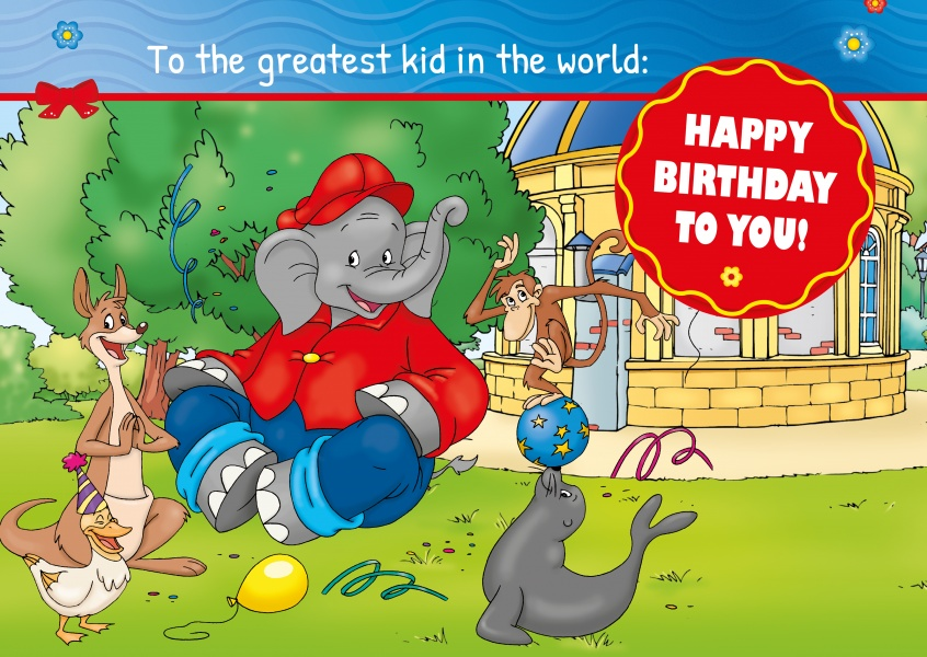 illustration Benjamin the elephant clebrating birthday with friends