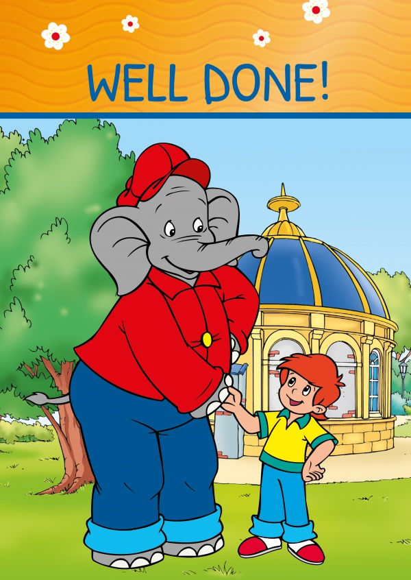 illustration Benjamin the elephant shaking hands with Otto