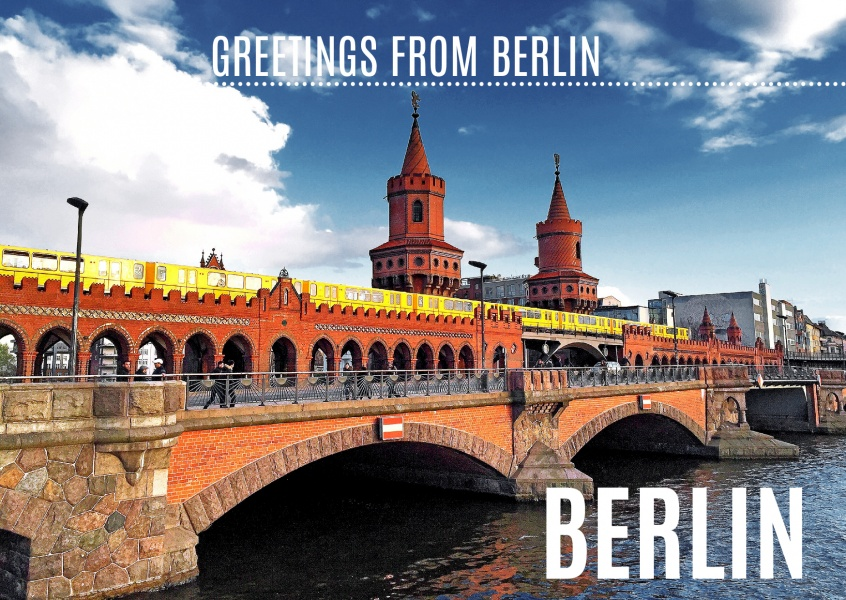 postcard from berlin with photo of oberbaumbrücke with metro