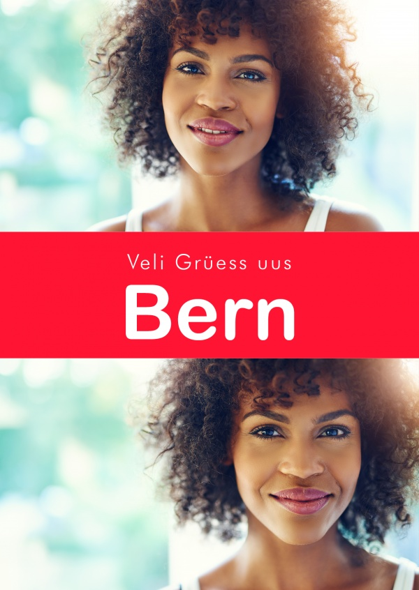 Bern greetings in swiss-german dialect red white
