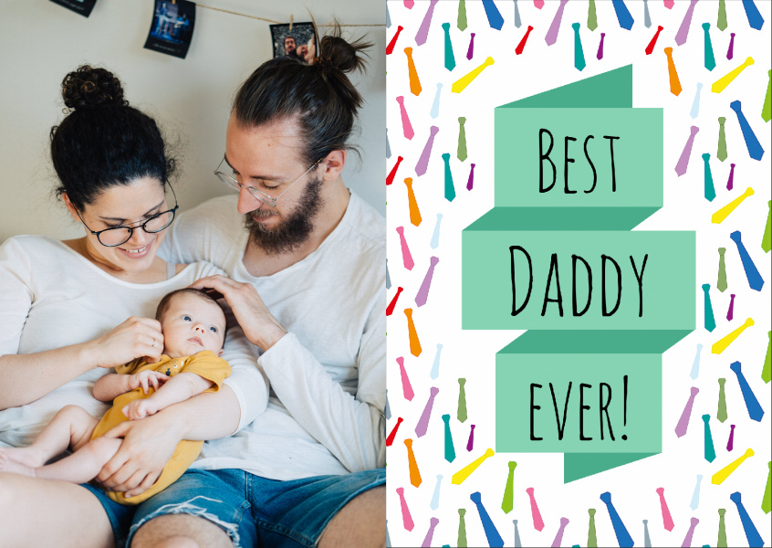 colorful tie-pattern background with best daddy ever on it
