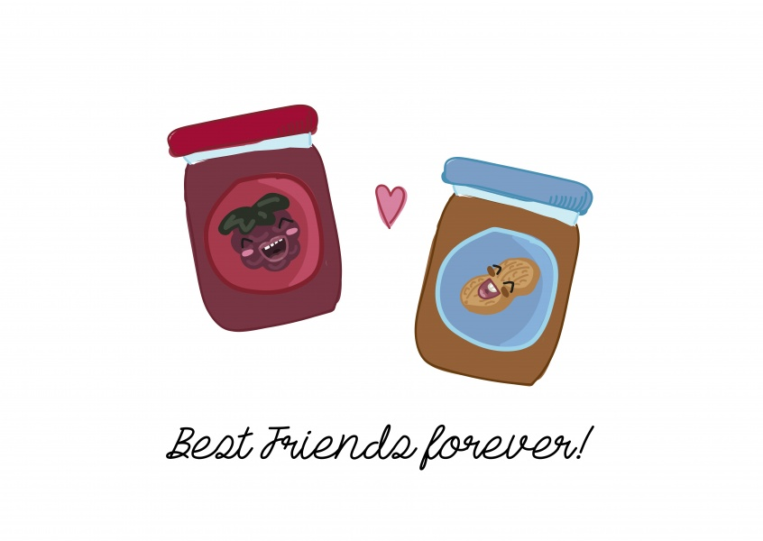 Card with peanut butter and jelly jam - best friends forever