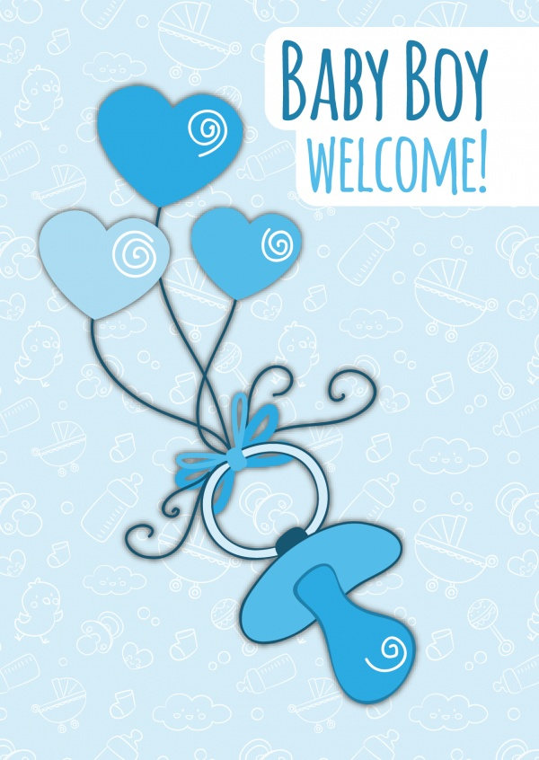 Baby Boy Welcome-Lettering on a blue patterned background