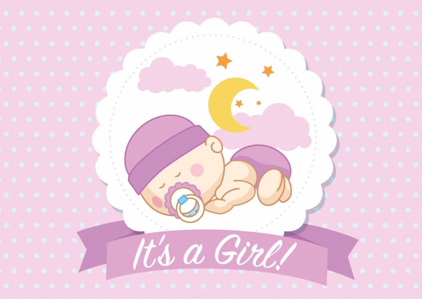 It's a girl- Lettering with sleeping baby-girl on pink background