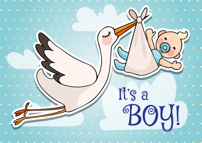 It's a boy-Lettering with stork and baby flying on a blue background