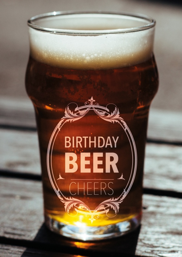 beer glass birthday beer postcard greeting card design