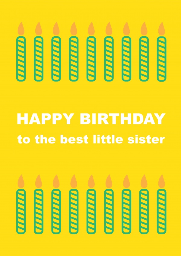 Birthday Candles Little Sister Card Present Stack Template