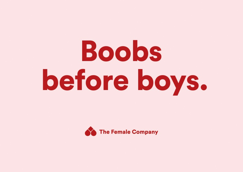 THE FEMALE COMPANY postcard boobs before boys