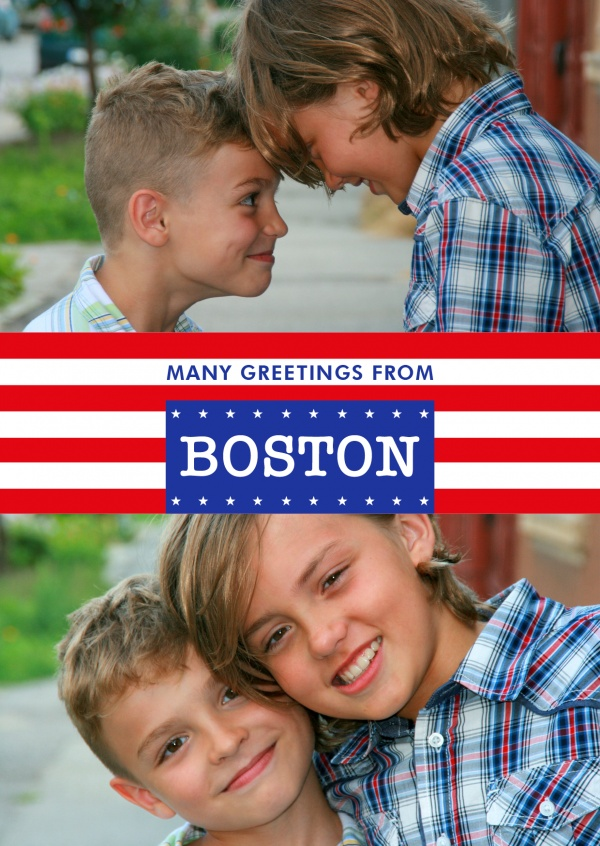 Boston greetings in US-flag design
