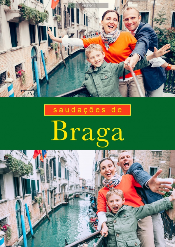 Braga greetings in Portuguese language green, red & yellow