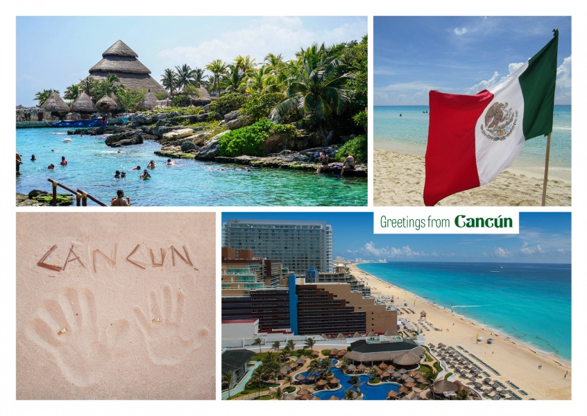Cancun beach photocollage