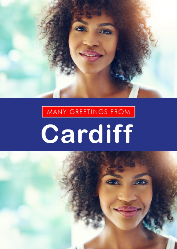 Cardiff in Union Jack-style colours and font