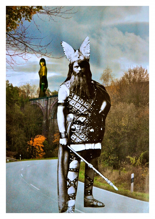 collage by Belrost with Viking, naked girl in the background in forest sourrounding