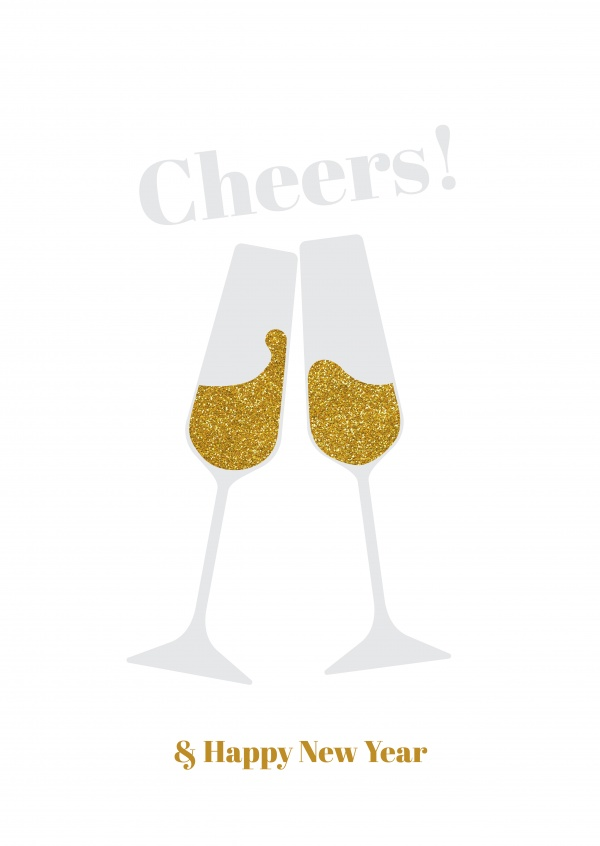 Cheers! Two champagne glasses on a white background.