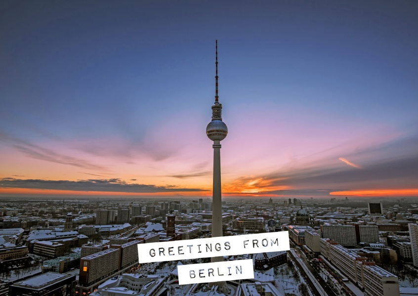 Postcard with photo from the tv tower in Berlin