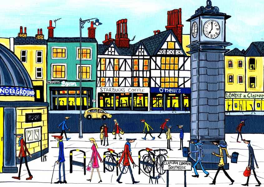Illustration du Sud de Londres, l'Artiste Dan Clapham common horloge