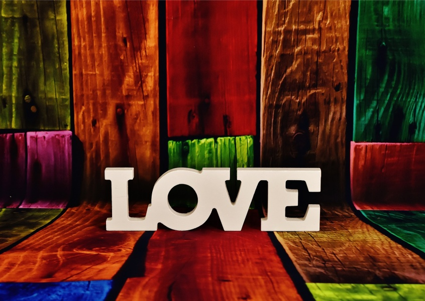 colorful love postcard motive