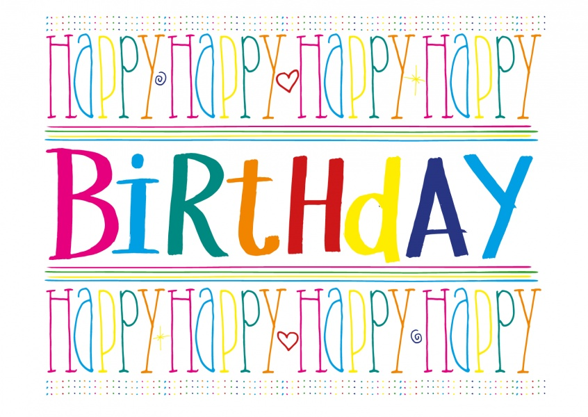 colorful happy birthday postcard greeting card