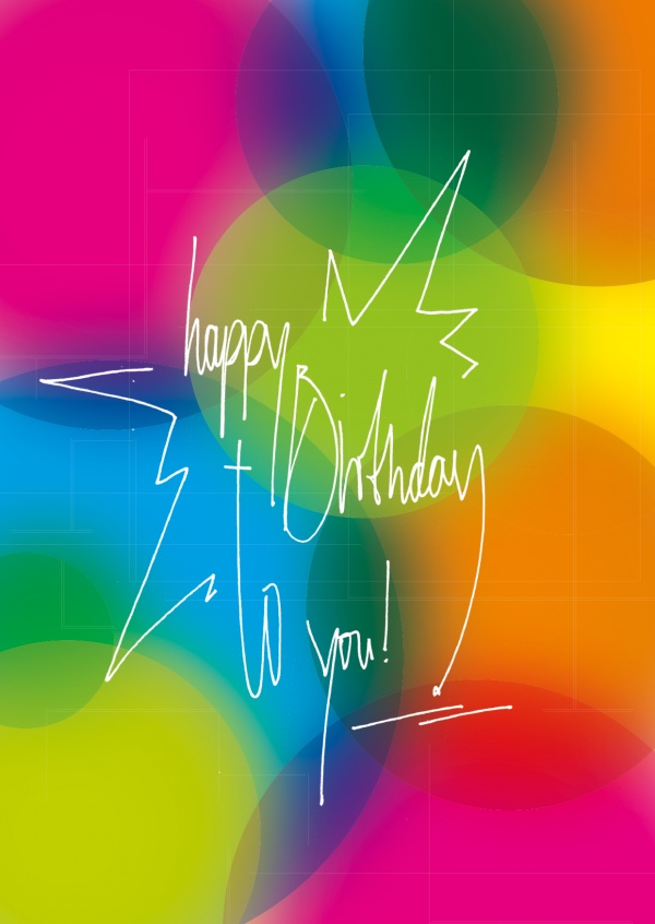 colorful postcard happy birthday greeting card