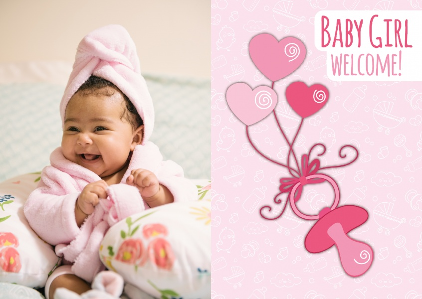 Baby Girl Welcome-Lettering on patterned background