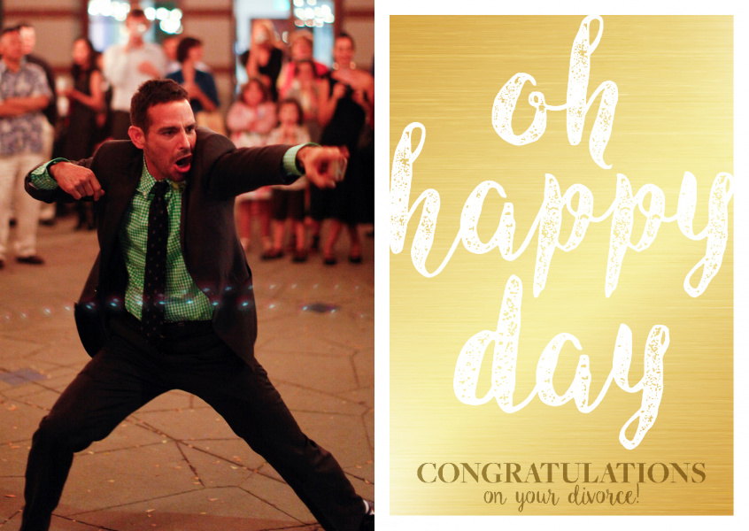 Oh happy day-congrats on divorce in white letters on golden ground