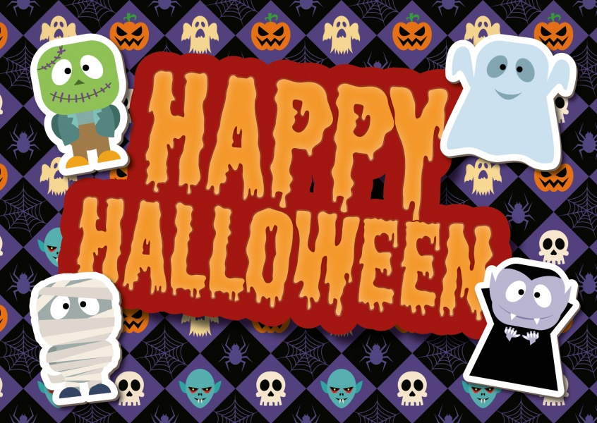 Happy halloween with cute monsters